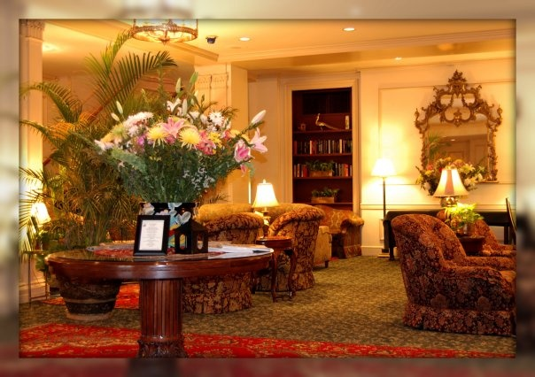 Hotel lobby at the Hawthorne in Salem, Mass. Love this old hotel