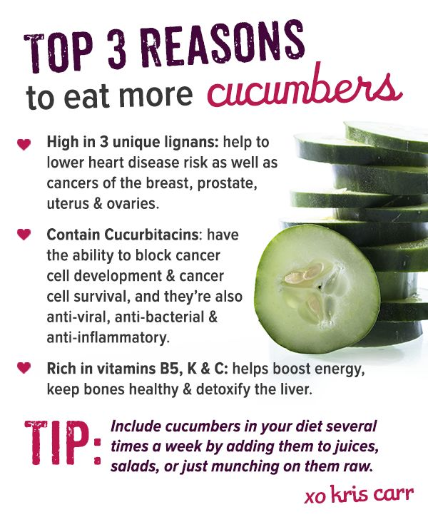 Top 3 Reasons To Eat More Cucumbers #raw #vegan #glutenfree #kriscarr #health #wellness
