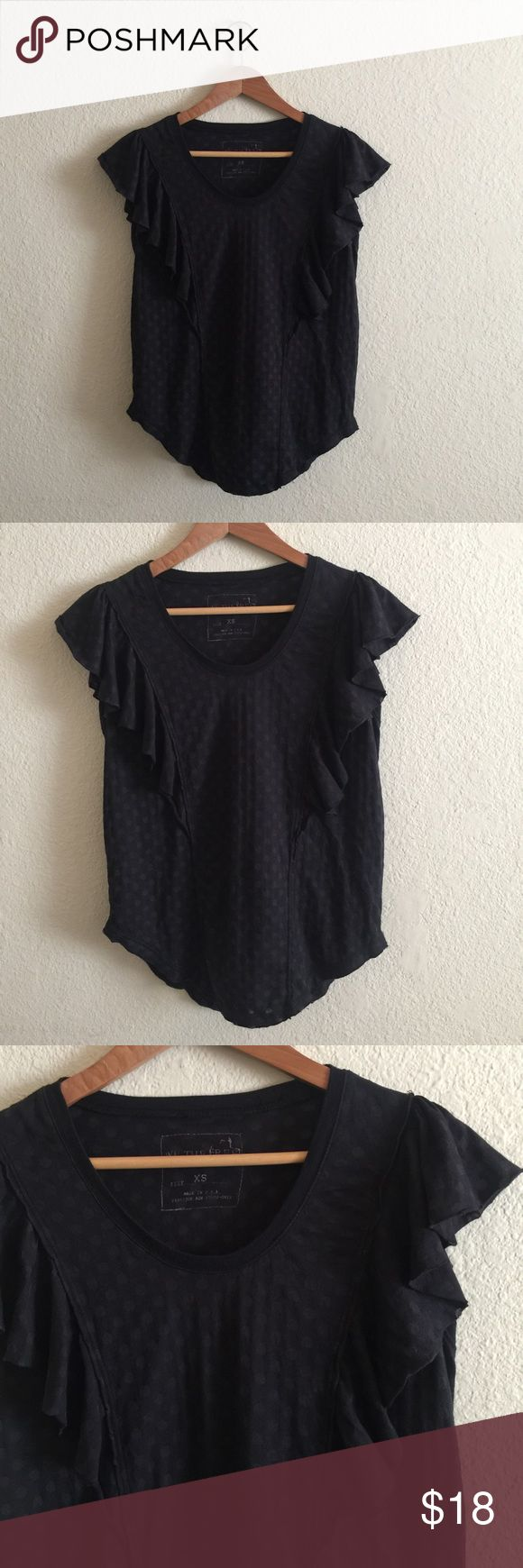 FREE PEOPLE women's Polka dot Blouse top XS We the Free women's Free People black Polka dot shirt.  Size: X Small . In Great condition! If you have any questions feel free to ask! Free People Tops