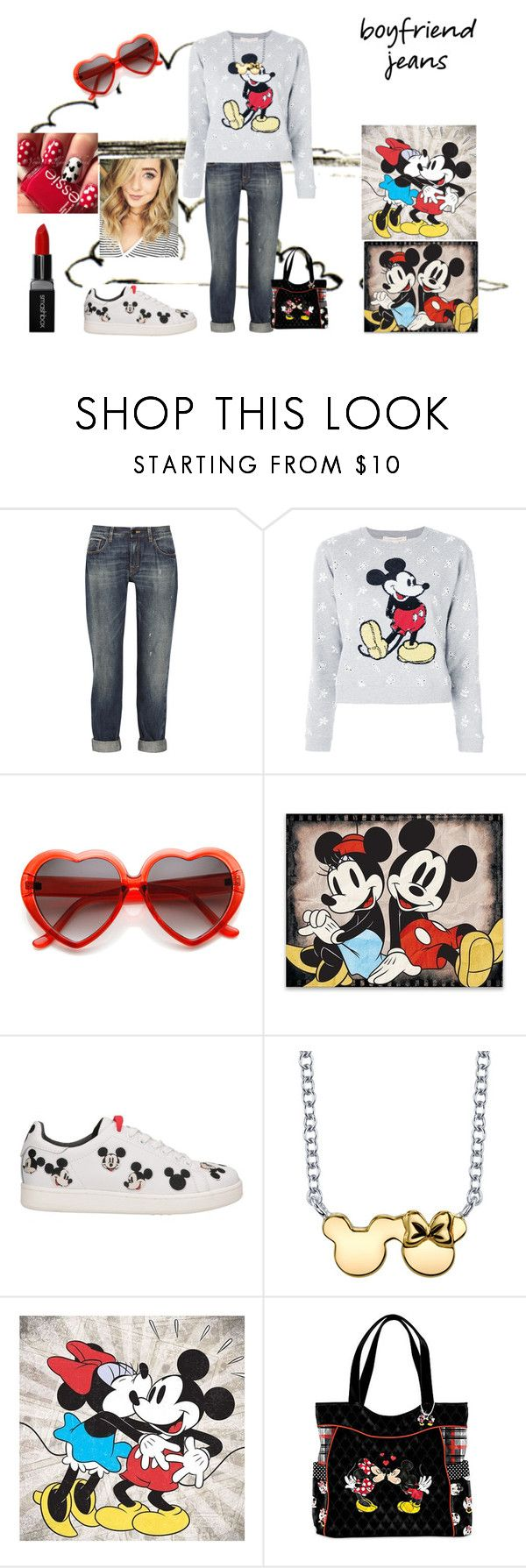 """""""Boyfriend Jeans"""" by emily-dickson-1 ❤ liked on Polyvore featuring dVb Victoria Beckham, Marc Jacobs, MOA Master of Arts, Disney, Artissimo, The Bradford Exchange, Smashbox, mickeymouse and minniemouse"""