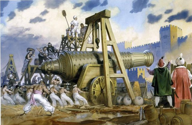 Illustration of angus mcbride showing the Ottoman cannon Basilica during the siege of Constantinople in 1453