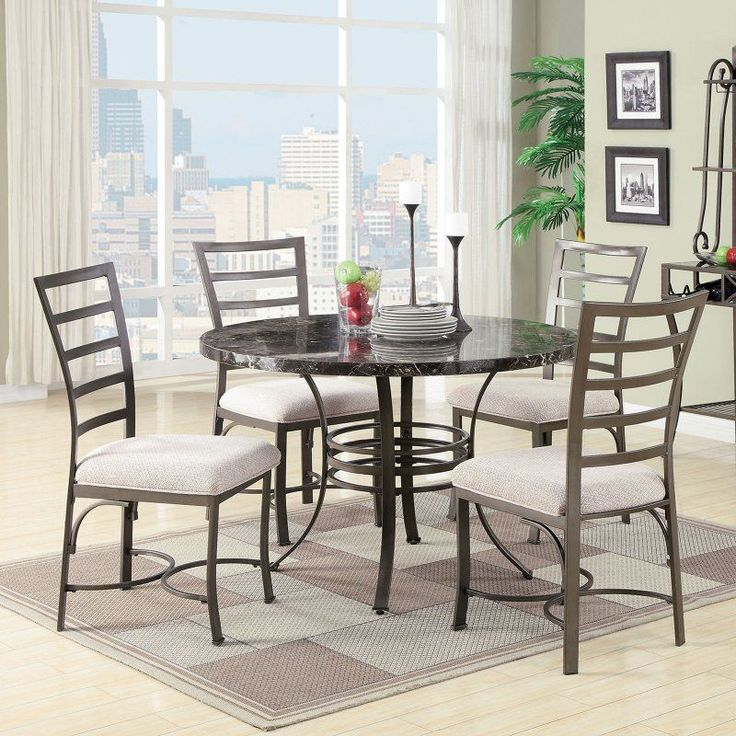 Acme Furniture Daisy 5 Piece Round Faux Marble Dining Table Set   70150 Part 53