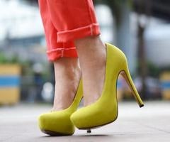 neon pumps and pants!