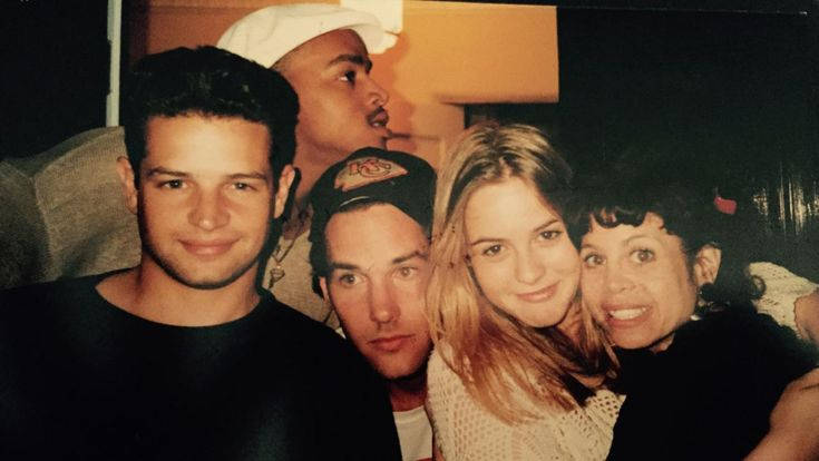 Justin Walker, Donald Fasion, Paul Rudd, Alicia Silverstone and Twink Caplan on the set of Clueless