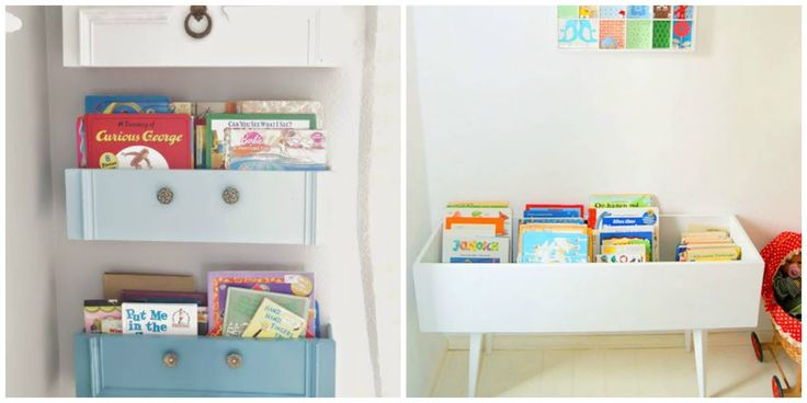 Kinderboeken opbergen is best leuk. Wij vonden de leukste DIY projecten om die boeken nu we netjes op te bergen.Van oude lades tot aan ikea hacks.