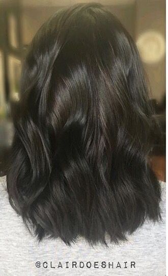 Medium length dark brunette, beach waves, goldwell color, black hair, texture
