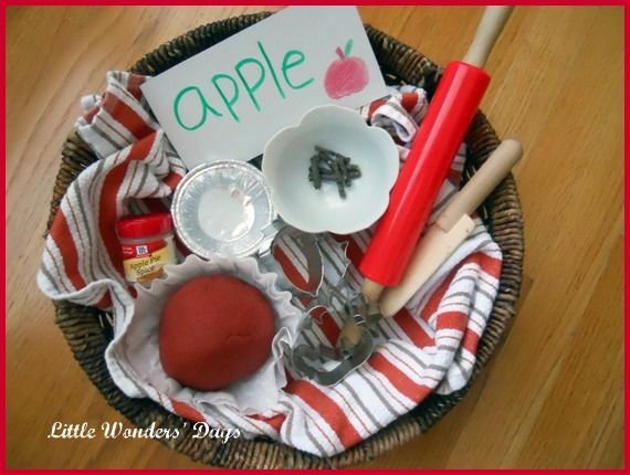 {Apple Pie Play Dough}  Can't you just smell it already? She uses cinnamon, nutmeg, and allspice!  We are studying trees & apples this month at www.letslassothemoon.com so I am really, really, REALLY excited to look through her apple themed activities.  Love this blog!!!