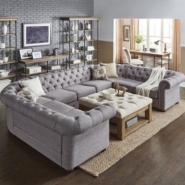 You Ll Love The Gowans Sectional At Wayfair Great Deals On All Furniture Prod Modern Farmhouse Living Room Farm House Living Room Farmhouse Decor Living Room
