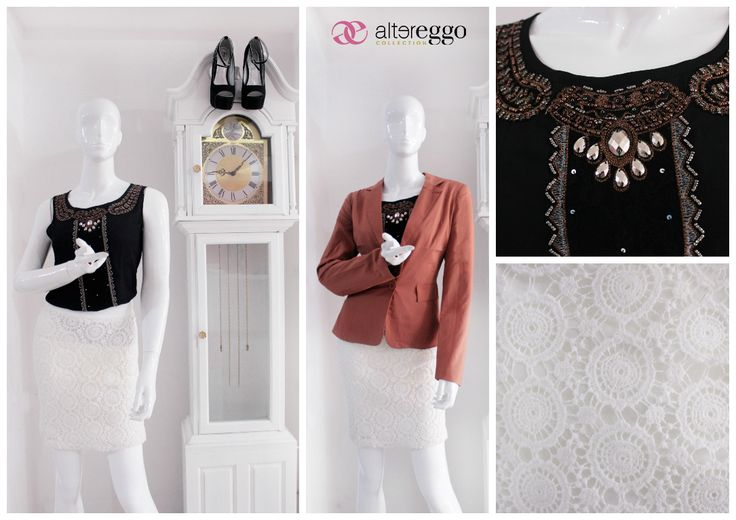 #moda #fashion #otoño #invierno #2014 #nueva #temporada #nueva #coleccion #NewCollection #moda #para #chicas #blusa #detalles #pedreria #negra #black #falda #crochet #blanca #blazer #cafe