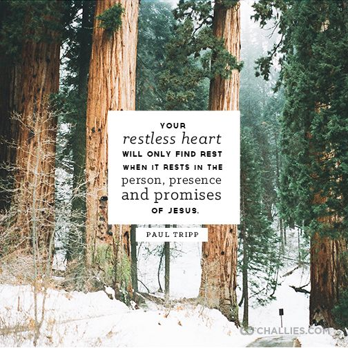 """""""Your restless heart will only find rest when it rests in the person, presence and promises of Jesus."""" (Paul Tripp)"""