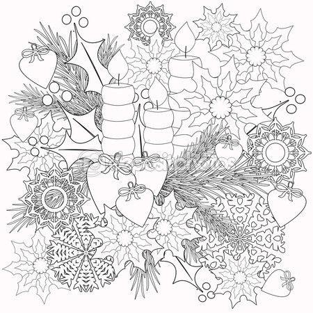 Раскраски детские книги с иллюстрациями декоративные цветочные декоративные элементы — стоковое изображение #110089140
