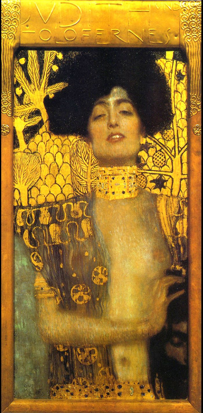 Judith by Gustav Klimt size unknown gold leaf, oil paint, mixed media I pinned this artwork because Klimt is a major inspiration on my thesis and I like the composition of this particular portrait.