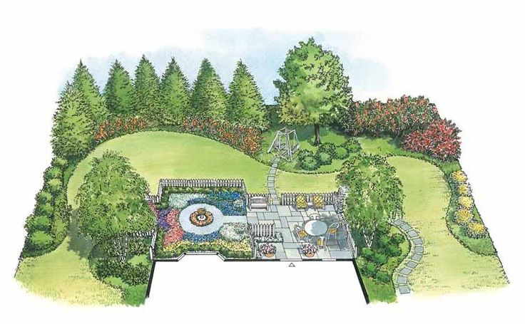 Interlocking arcs of several lawn and planting circles create an open feel in an English cottage garden.