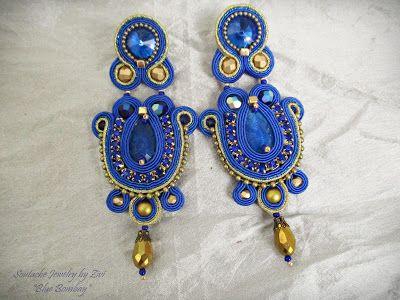 El Rinconcito de Zivi: Conjunto Soutache Pendientes y Peina Azul Cobalto y Dorado, Conjunto Soutache Flamenca