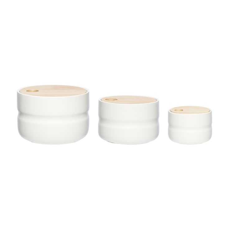 Ceramic jar with wood lid. Product number: 860306 - Designed by Hübsch