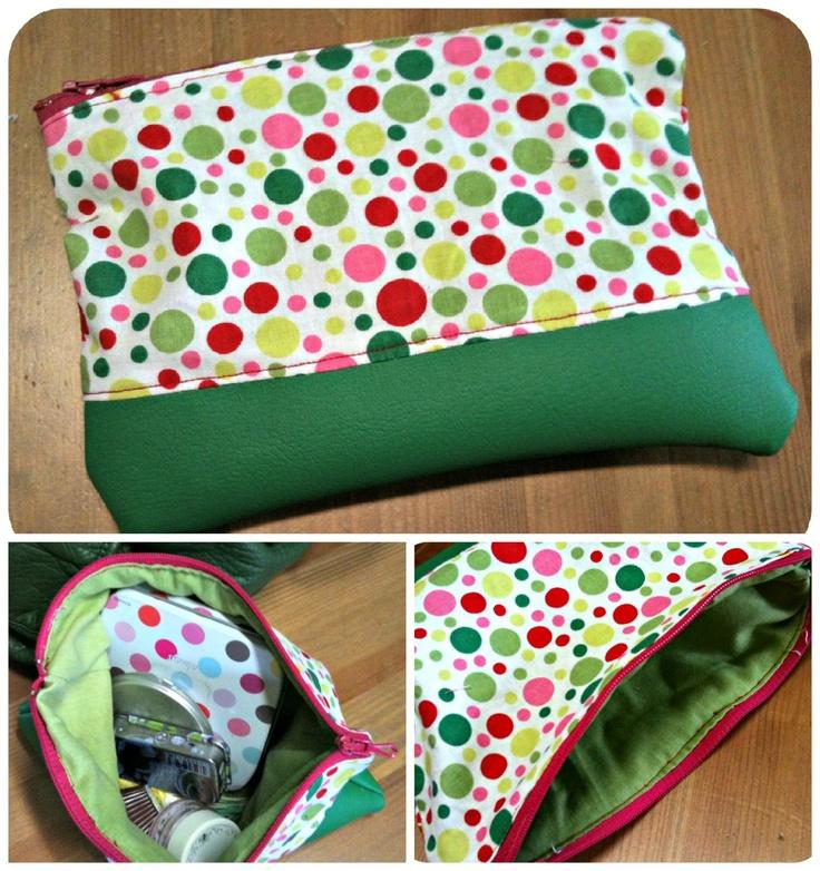 Mbcé - pochette zippée petits pois / vert