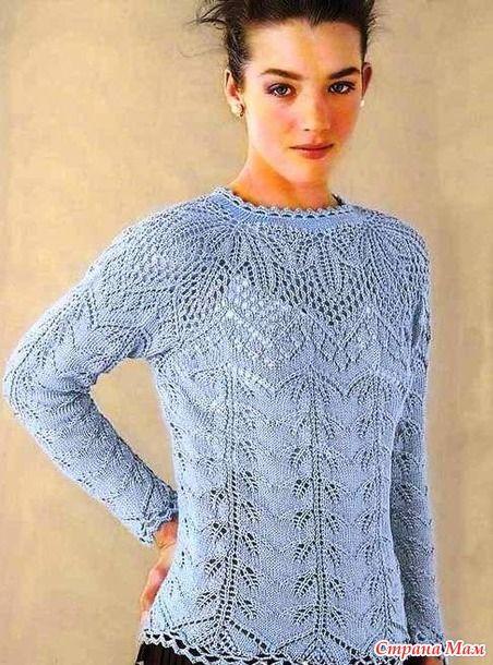 Нежный пуловерреглан спицами.