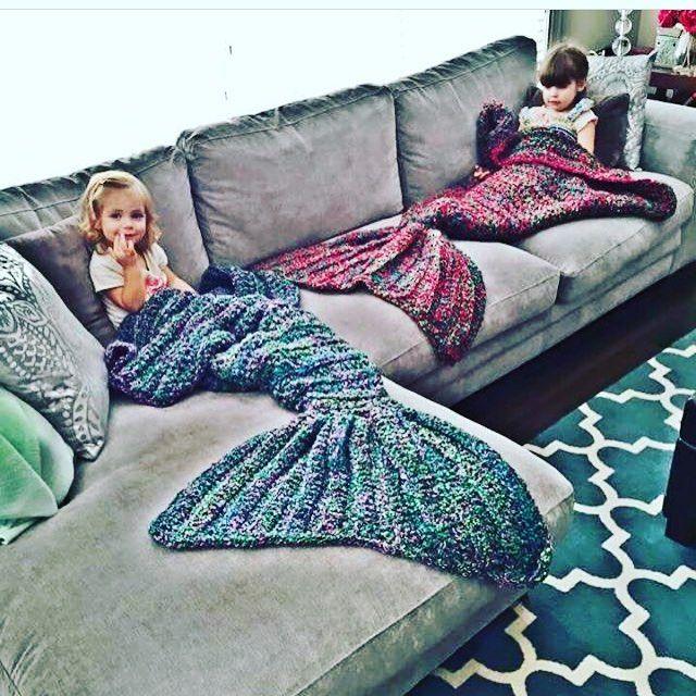 E esse cobertor de calda de sereia feita de crochê?  #crochê #crochet #sereia…