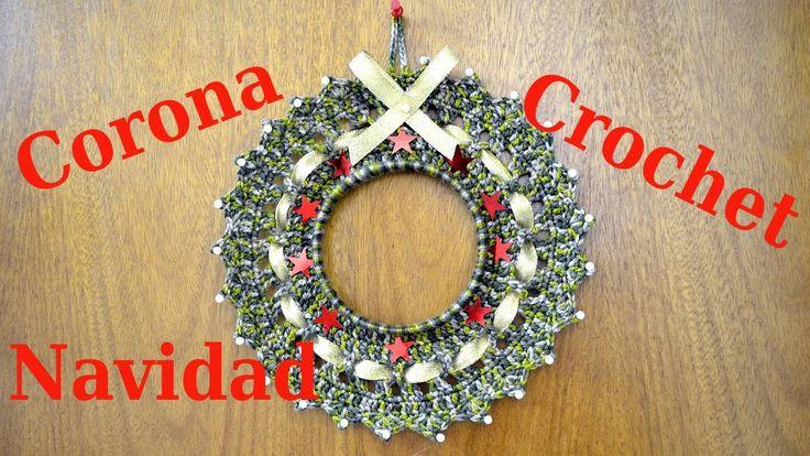 Como hacer una corona en tejido crochet para navidad - Como hacer coronas de navidad ...