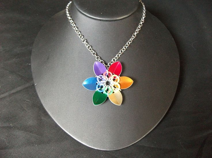 Rainbow Scale Flower Necklace Available on TRADE through Trad. Commerce Exchange! http://tandcglobal.com