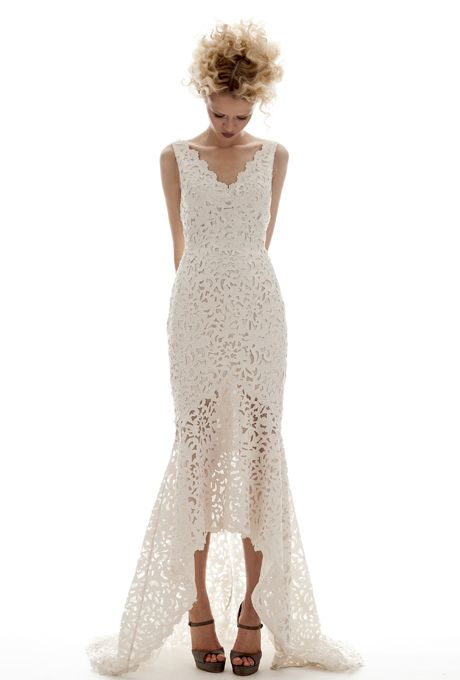 Brides.com: Lace Wedding Dresses from Spring 2013. Lace Wedding Dress: Elizabeth Fillmore. Evie, $5,170, Elizabeth Fillmore