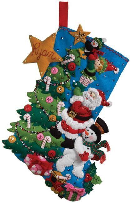 Felt Applique Christmas Stockings and Ornaments