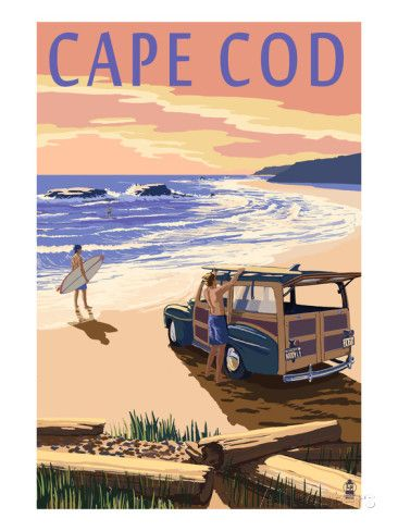 Cape Cod, Massachusetts - Woody on Beach Affiches par Lantern Press sur AllPosters.fr