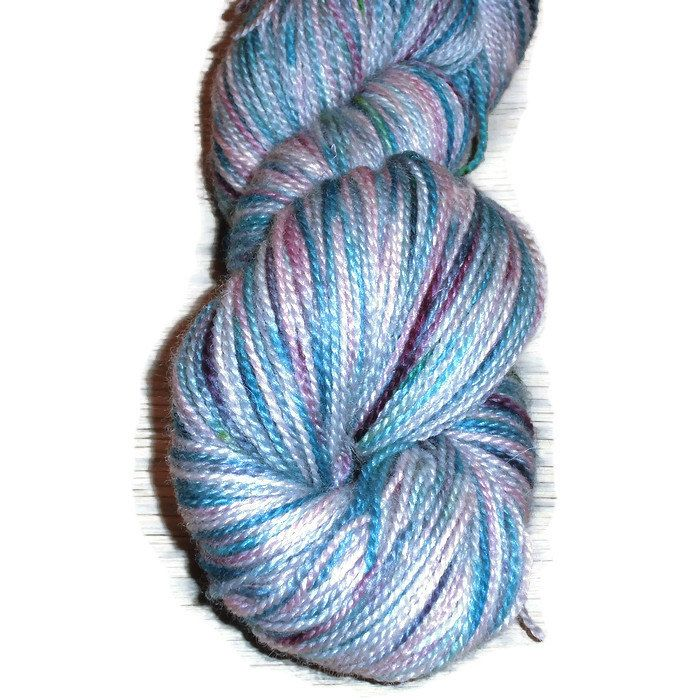 "Hand Dyed Sock Yarn - Handdyed Bluefaced Leicester Wool 2-Ply - ""Morning Light"" - Blue Sockyarn - Blue - Purple Blue- Green - EU SELLER"