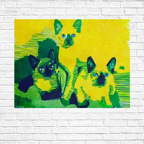 Hand gefertigte Pop Art Illustration: Siamkatzen von Kleckerlabor
