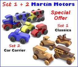 What You'll Get: Set 1 - Martin Motors Crafts Show Classics ($12.95 value) Set 2 - Martin Motors Classic Antique Car Carrier ($14.95 value) Ken Martin builds it! See this Wood Toy News exclusive. Entire set valued at $25.90 if purchased individually!
