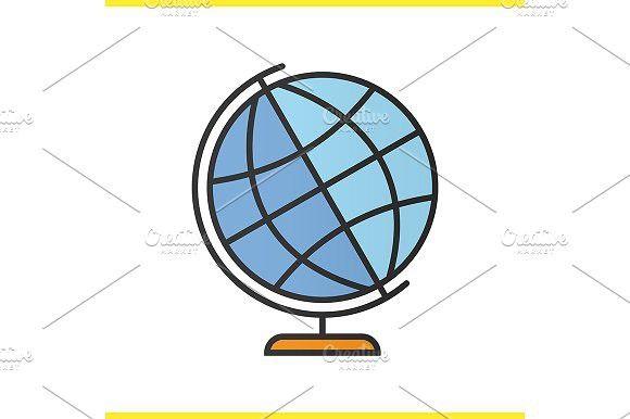 School globe icon. Vector. Map #cartoon