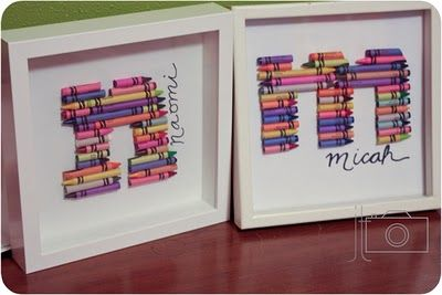 Crayon Monogram. One of the versions of crayon art we did with