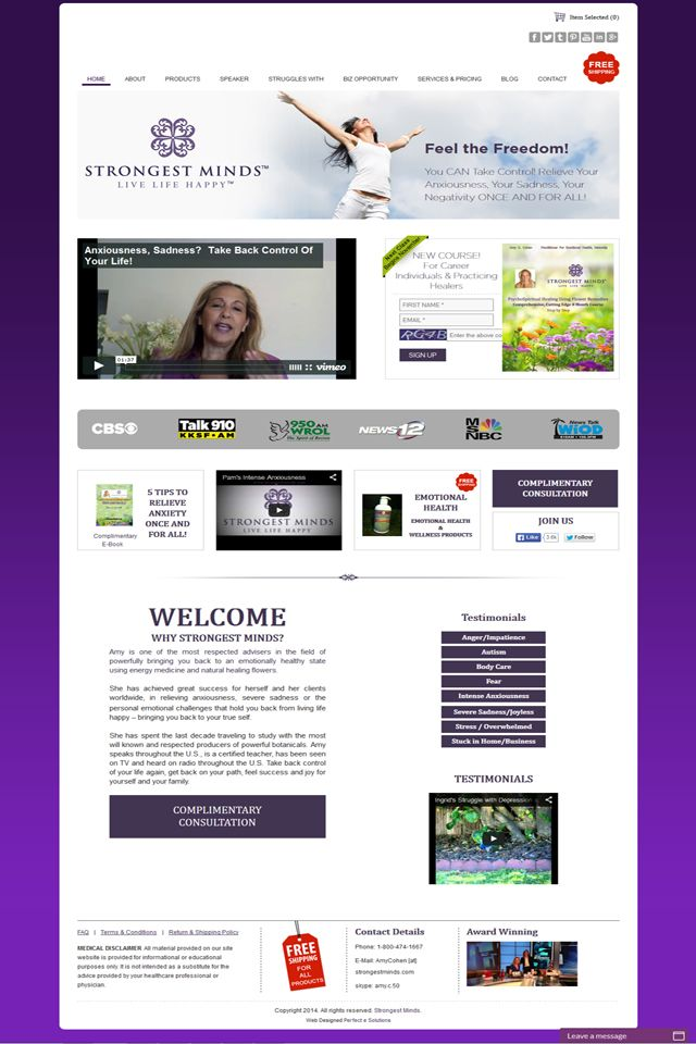 http://www.strongestminds.com , LLC 12 Elisa Drive Marlboro, NJ 07746 New Jersey 1-800-474-1667