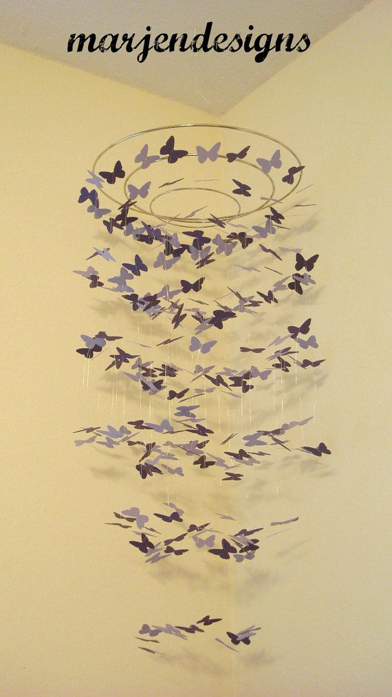 dark purple and lavender butterfly mobile crib by marjendesigns, $45.00
