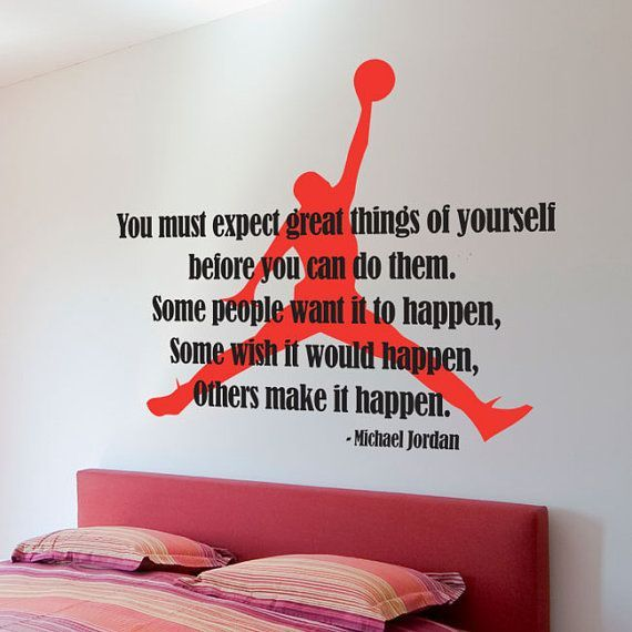 Michael Jordan Typographic Quote   Air Jordan Silhouette Basketball Dunk  Boys Room Wall Decal Graphic