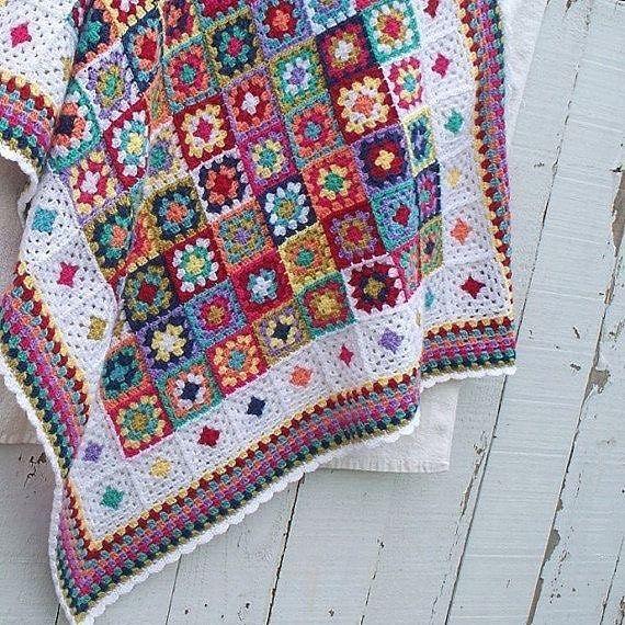 Crochet Granny Square Decke, siehe Rand & Kante – Neverland (@neverlands_worl …, #amp #…