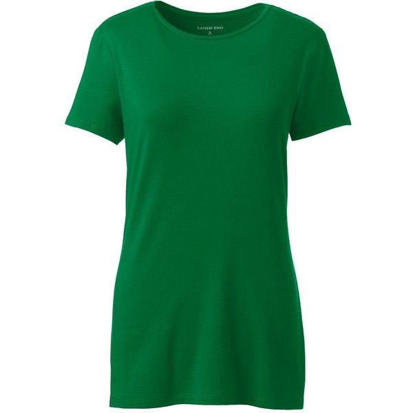 Lands' End Women's Petite Shaped Layering Crewneck T-shirt ($20) ❤ liked on Polyvore featuring tops, t-shirts, green, layering t shirts, petite tops, crewneck t shirt, green tee and petite tee
