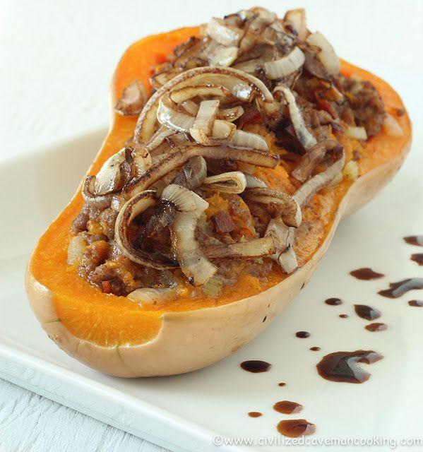 Bacon Beef Butternut Squash.  Best squash recipe ever #paleo #primal #glutenfree #grainfree #recipe #food #repin