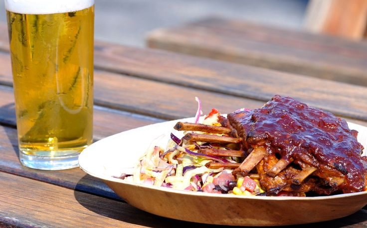 #delicious BBQ Lamb Ribs with Texas Salad - part of our #GardenFood menu from the #kiosk at Village Melbourne. #yum #food #ribs #salad #beer