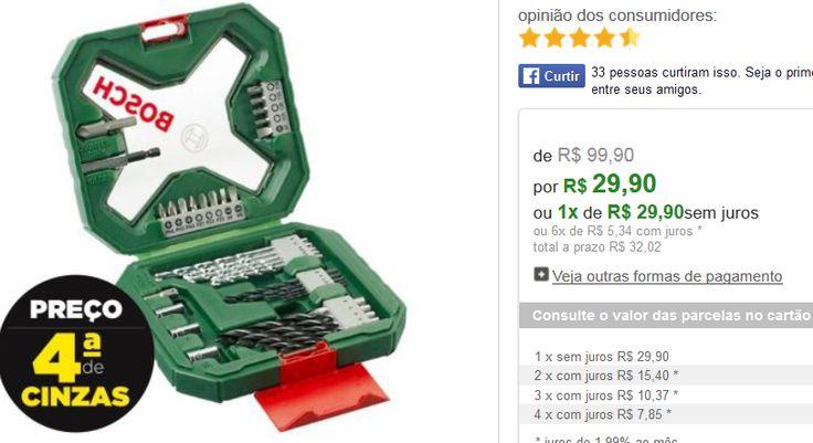 Kit Bosch X-Line 34 peças - Jogo de Brocas e Pontas para Furar e Parafusar << R$ 2990 >>