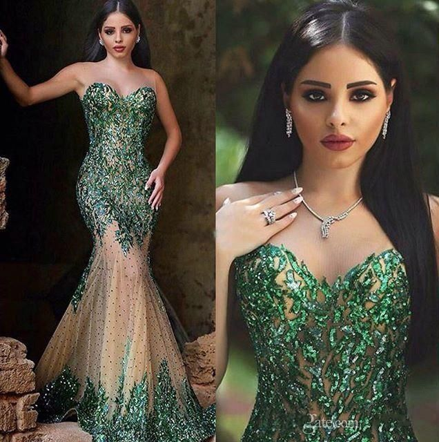 Spaky Dark Emerald Green Sequined Mermaid Evening Dresses 2016 Sweetheart Zipper Back Beaded Arabic Dresses Plus Size Prom Gowns Long J1028 Online with $198.96/Piece on Caradress's Store | DHgate.com