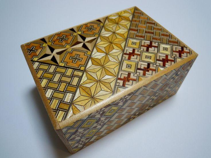 Japanese Puzzle box (Himitsu bako)- 4.5inch(115mm) Standard Open by 10steps Yosegi by tomomaru on Etsy https://www.etsy.com/listing/197134212/japanese-puzzle-box-himitsu-bako