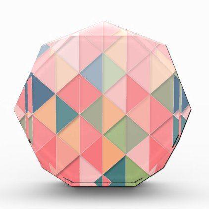 CUBISM pastel Shades GEOMETRIC - ADD MONOGRAM Acrylic Award - monogram gifts unique custom diy personalize