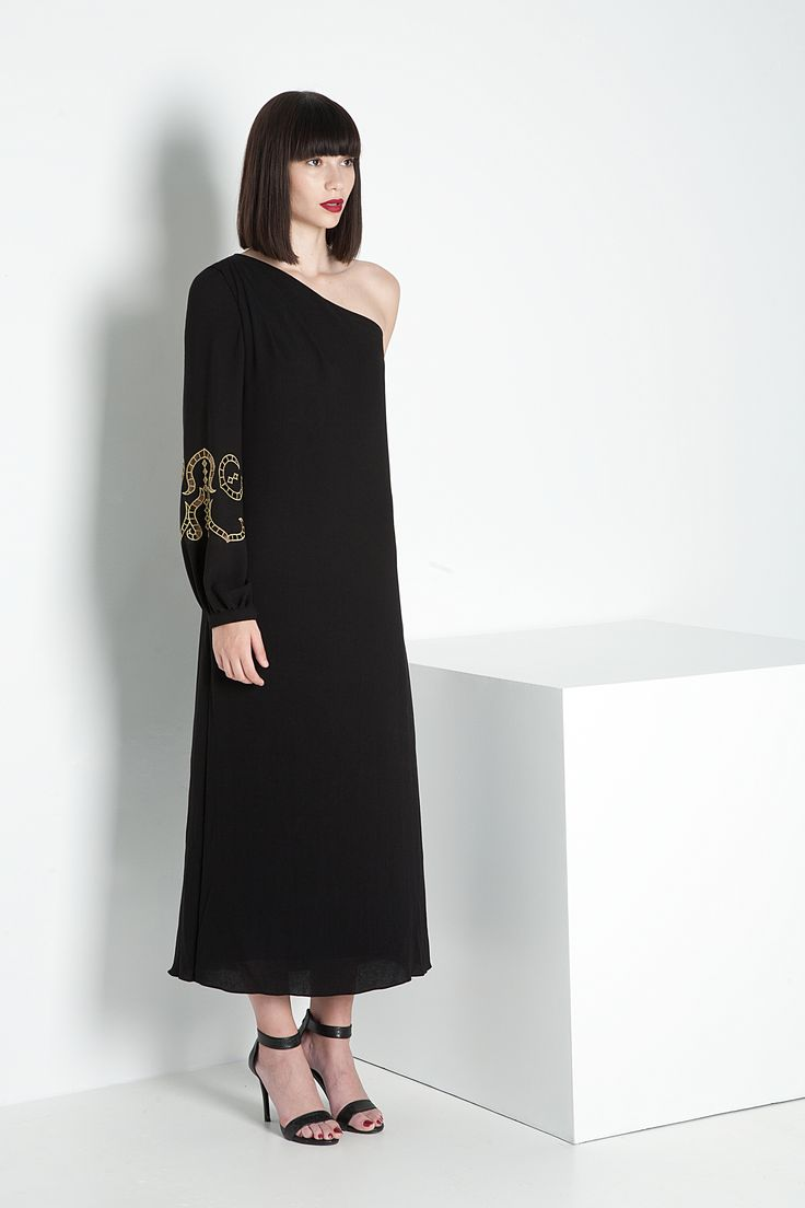 IPHIGENIA ONE SHOULDER EMBROIDERED LONG DRESS
