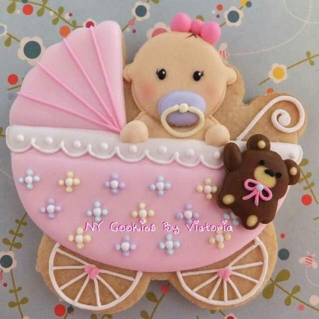 Baby Shower Bliss - Baby Girl in a Carriage Cookie from NY Cookies by Victoria via Flickr. (Inspiration)
