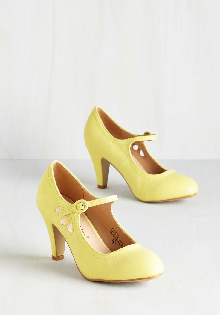 Jive O'Clock Somewhere Heel in Daffodil. These pastel yellow Mary Janes are all the reason you need to break out into a little dance! #yellow #wedding #modcloth