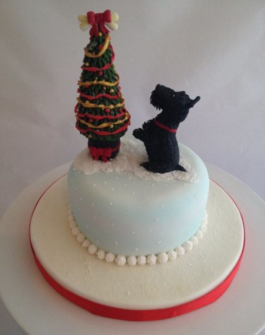 Scottie dog Christmas cake