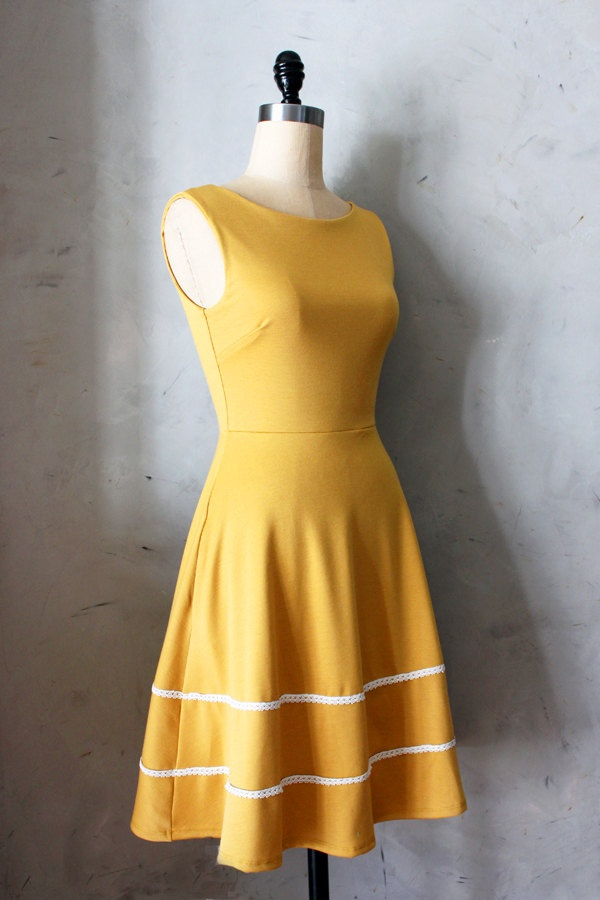 COQUETTE in MUSTARD - Muted yellow dress with pockets // flared circle skirt // ivory crochet // bridesmaid dress // vintage inspired. $68.00, via Etsy.
