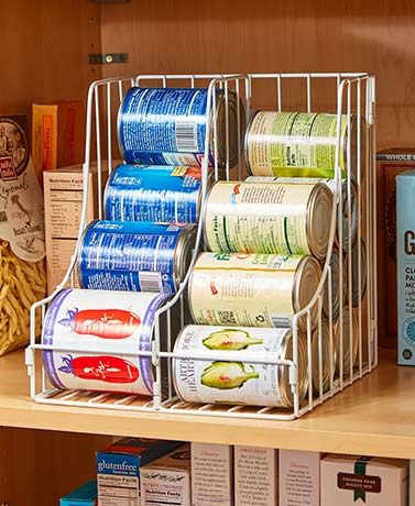 Increase the storage space on your shelf with this Double Pantry Can Organizer.