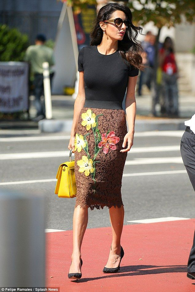Fashionista: Amal Clooney was looking better than ever when she stepped out in New York City on Wednesday, sporting an elegant Dolce & Gabbana floral skirt